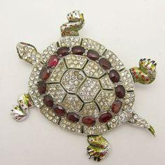 CORO-Strass-Turtle-Brooch-Brunialti-Book-Piece-Patented-Tortoise-Vintage-Figural