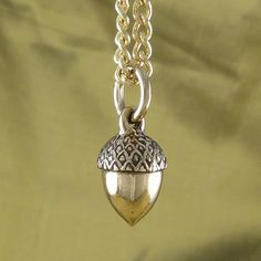 Acorn Pendant Necklace  Bronze Acorn on 24 Gold by LostApostle, $45.00