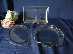 Set of Three Clear Glass Trays with Gold Trim by SecondWindShop, $24.50