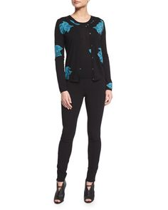 Floral-Print+Wool+Cardigan,+Sleeveless+Floral-Print+Shell+&+Skinny+Side-Zip+Pants+by+Agnona+at+Neiman+Marcus.
