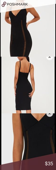 NWOT BLACK FISHNET PANEL DRESS Size 4. Paneled fishnet Black bodycon dress. Never worn. Tag was just cut off. Pretty little thing. Missguided Dresses