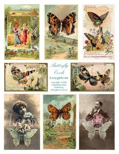 Victorian Butterfly Cards Digital Collage Sheet