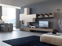 Modern style living room furniture: design furniture and decorations - ULWIX Living Room Wall Units, Living Room Storage, My Living Room, Living Room Furniture, Living Spaces, Gray Painted Walls, Grey Walls, Horizontal Bookcase, Italian Furniture Design