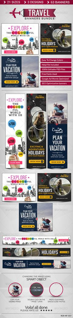 Travel Banner Bundle - 3 Sets Template PSD | Buy and Download: http://graphicriver.net/item/travel-banner-bundle-3-sets/8586395?WT.ac=category_thumb&WT.z_author=BannerDesignCo&ref=ksioks