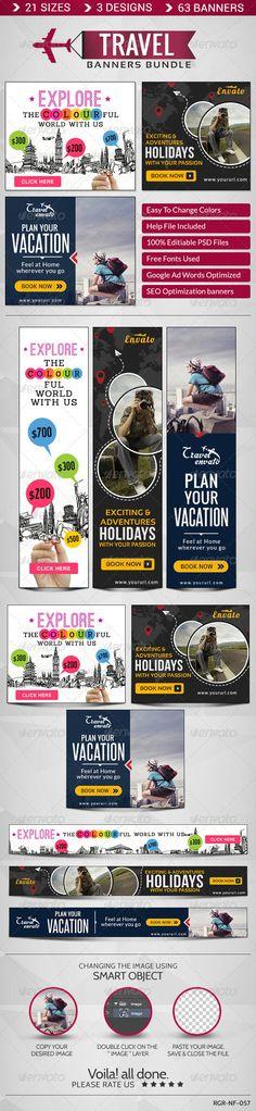 Travel Banner Bundle - 3 Sets Template PSD   Buy and Download: http://graphicriver.net/item/travel-banner-bundle-3-sets/8586395?WT.ac=category_thumb&WT.z_author=BannerDesignCo&ref=ksioks
