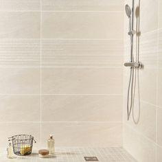 Carrelage mural Milano PREMIUM en faïence, beige, x cm Slate Bathroom, Bathroom Renos, Bathroom Ideas, Murs Beiges, Ikea Decor, Diy Bathroom Remodel, White Beige, Bathroom Inspiration, Bathtub