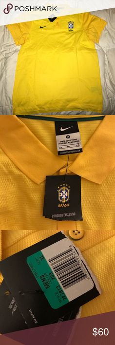 Nike CBF Brazil Polo This is 100% authentic, new with tags! This exclusive shirt is perfect for every Brazil fan! 🇧🇷 ALL proceeds pay for my college tuition😊 Nike Shirts Polos