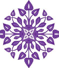 Purple Anthurium Hawaiian Quilt Design- vector