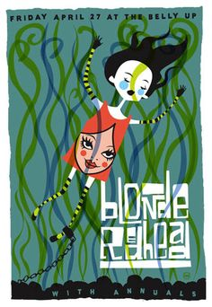Blonde Redhead by Scrojo Band Posters, Music Posters, Blonde Redhead, Double Dare, Screen Print Poster, Concert Posters, Color Combos, Screen Printing, Rock Stars