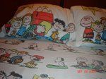 """charlie brown and the peanuts gang sheets """"happiness is being one of the gang"""" was the quote on the pillow"""