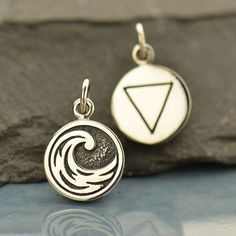 Four Elements Charms - Sterling Silver round disc charms - Earth Water Air Fire - double sided with symbol - one charm by lydialayne on Etsy https://www.etsy.com/listing/287740873/four-elements-charms-sterling-silver