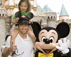Hugh Jackman - M.I.C.K.E.Y. M.O.U.S.E. Hugh joins the Mickey Mouse Club with his cute picture in front of the castle with Mickey Mouse himself - disney fashion style