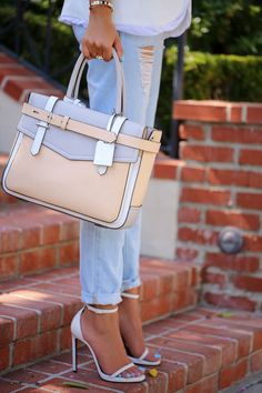 Love this structured pastel bag and strappy heels
