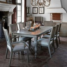 Give your dining area a sense of timeless elegance with this vintage dining table! The French-style dining table is a lovely complementary Funky Furniture, Large Furniture, Dining Room Furniture, Oak Dining Table, Dining Area, Dining Chairs, Sutton House, Sweetpea And Willow, White Side Tables