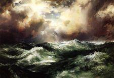 Enorme pintura óleo Thomas Moran - lua vista com ondas do oceano no sunset