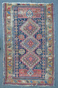 Antique Shirvan, 176 x 111 cm, very fine drawn design, thin like paper.