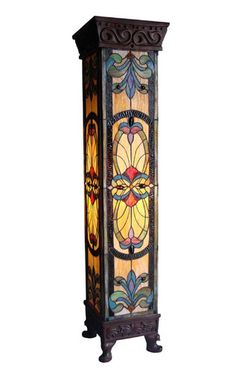 Victorian Tiffany Style Stained Glass Four Sided Mission Pedestal FLoor Lamp