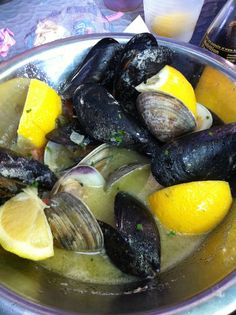 mussels and clams at blue water seafood market and grill