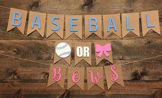 Baseball Or Bows Banner Gender Reveal Banner Baby Shower