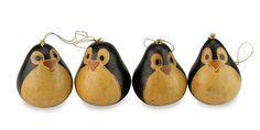 Unique Mate Gourd Penguin Christmas Ornaments (Set of 4) - Penguins | NOVICA