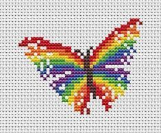 ***Two different patterns are included in this listing*** Easy cross stitch patterns of a magical rainbow and a rainbow butterfly. These are small patterns which would be perfect for cards, for a motif on an item of clothing, or a quick little framed present. Both designs are included in the purchase. Rainbow details: • Stitch count: 40 wide x 26 high • Approximate size on 14 count aida: 2.9in wide x 1.9in high (7.3cm wide x 4.7cm high) • 10 colours, DMC numbers given (12 colours for both