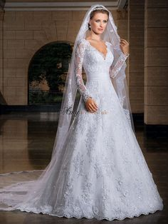 2014 New Sexy Sheer Long Sleeves V Neck A-Line Wedding Dresses  7a7cbc6c3635