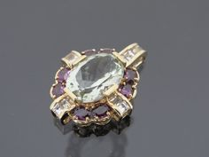 Vintage 10K Solid Yellow Gold 8.41ct Green Amethyst, Alexandrite & White Topaz Pendant by wandajewelry2013 on Etsy