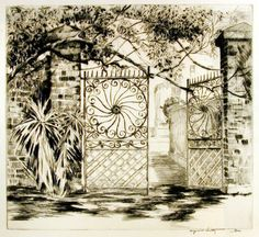 """Alfred Hutty, """"The Sass Gate"""" etching"""