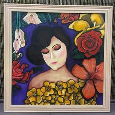 """Flames Guard These Promises"" Portrait painting with various flowers by Samish Art. Acrylic Paint on Wooden Board."