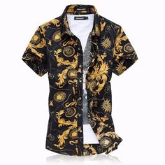 Designer Large Size Mens Summer Beach Style Pattern Cotton Blend Casual Short Sleeved Shirts - NewChic