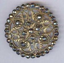 Exquistie Antique Metal Openwork Button w/CUT STEELS in Design, large