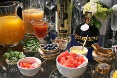 Champagne bar details: fresh squeezed Florida orange juice, pear nectar, blood orange juice, St. Germain, Chamboard, fresh basil, mint, strawberries, blueberries, candied ginger, grapefruit, pineapple, gold edible hearts, lavender, orange twists, lemon twists, pomegranate seeds, rasberries, simple syrup
