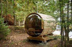 Sauna Heater, Dry Sauna, Cedar Bench, Barrel Sauna, Traditional Saunas, Curved Bench, Outdoor Sauna, Red Cedar Wood, Concrete Pad