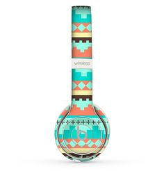 The Teal & Gold Tribal Ethic Geometric Pattern Skin Set for the Beats by Dre Solo 2 Wireless Headphones