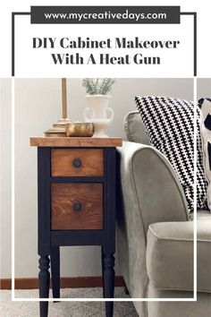 This DIY cabinet makeover was done with paint, my favorite topcoat and a product that I will never live without for wood projects. Diy Furniture Projects, Recycled Furniture, Easy Diy Projects, Furniture Makeover, Wood Projects, Painted Furniture, Diy Essential Oil Diffuser, Cowhide Chair, Pallet House