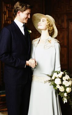 Latest Downton Abbey Wedding: Lovely Lily James as Lady Rose MacClare and her husband the Honourable Ephraim Atticus Aldridge, portrayed by Matt Barber.
