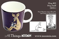 Mug – Sniff Produced: Illustrated by Tove Slotte and manufactured by Arabia. The original artwork can be found. Moomin Mugs, Tove Jansson, Marimekko, Finland, Original Artwork, Childhood, Tableware, Trays, Den