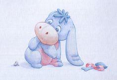 Baby Eeyore watercolour by ShaneMadeArt.deviantart.com on @deviantART