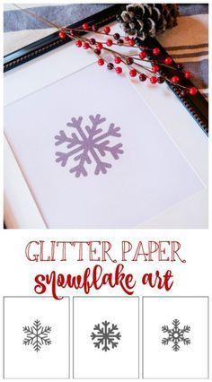 Glitter Paper Snowflake Art Free Printable for Winter #GlitterPaper