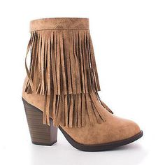 Strong Natural Beige PU Round Toe Layered Fringe Stacked Heel Ankle Bootie