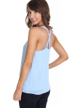 Cross Strap Tank Powder ($28.99) #sophieandtrey #trend #fashion #summer #fall #backtoschool #ootd #socute #clothes #affordable #cheap #fashionable #preppy #boho #casual #fancy #recruitment #rush #sorority #homecoming #prom #formal #tanktop #tank #white #strappy #blouse #top #worktop #workattire #workblouse #fancytop