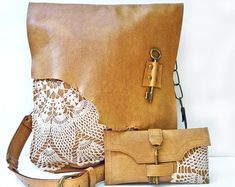 Brown Leather Crossbody Boho Bag with Vintage by UrbanHeirlooms