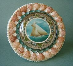 "Seashellsandwood.com A Showcase for Seashell Art email Judy Dinnick 9"" Shell Decorated Roundel or Ship's Porthole"
