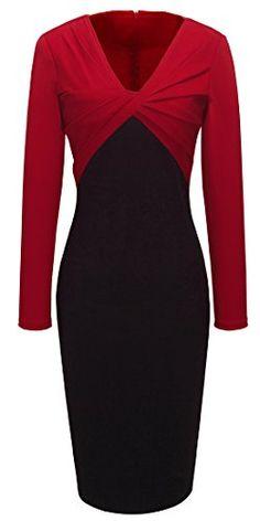 Homeyee® Women's V-neck Colorblock Bodycon Dress B248 (S, Red) HOMEYEE http://www.amazon.com/dp/B01AVV1AGU/ref=cm_sw_r_pi_dp_KFq2wb0V5TD0B