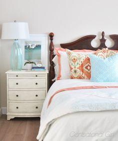coral + aqua bedroom