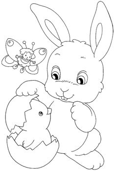 Easter Bunny Colouring, Bunny Coloring Pages, Colouring Pages, Coloring Pages For Kids, Coloring Books, Easter Art, Easter Crafts, Diy Ostern, Applique Patterns