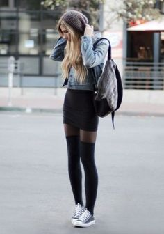winter outfits hipster 40 Stylish Fall Outfit Ideas With Over The Knee Socks EcstasyCoffee Outfits Hipster, Trendy Fall Outfits, Outfits For Teens, Spring Outfits, Casual Outfits, Cute Outfits, Winter Outfits, Jeans Casual, Bar Outfits