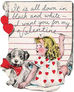 Little Girl and Dog Valentine Card