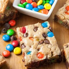 These blondies are so scrumptious! Made with browned butter and loaded up with M&M's and candies! No mixer required so super easy too!