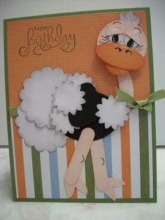Punch Art Ostrich by MrsBoz - Cards and Paper Crafts at Splitcoaststampers Paper Punch Art, Punch Art Cards, Kids Birthday Cards, Happy Birthday, Animal Cards, Kids Cards, Creative Cards, Cute Cards, Greeting Cards Handmade